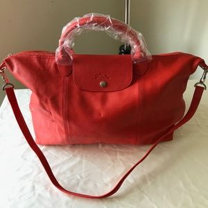 Longchamp Red Cuir All Leather Le Pliage new